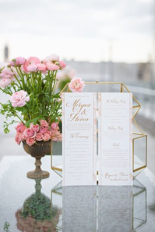 pink-and-gold-wedding-ceremony-program-calligraphy-schedule-of-events-note-of-thanks-wedding-party