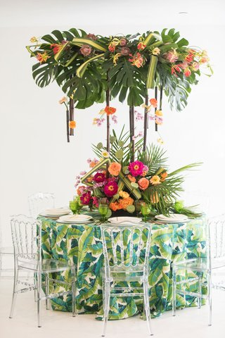 tropical-wedding-inspiration-tropical-print-linens-arrangement-of-split-leaves-overheard