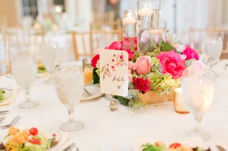 wedding-reception-low-centerpiece-floating-candles-gold-box-pink-rose-greenery-pink-flower-table