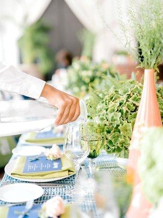 bridal-shower-boho-chic-greenery-summer-event-peach-vase-blue-menu-lime-green-napkin-batik-linens