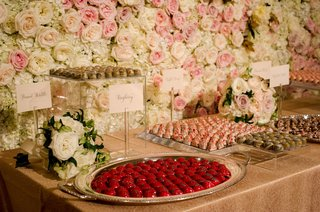 wedding-reception-dessert-table-flower-wall-pink-white-rose-painted-truffle-candies-peanut-brittle