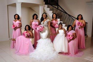 bridesmaids-in-mismatched-bridesmaid-dresses-in-light-pink-color-one-shoulder-high-neck