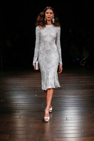 naeem-khan-bridal-fall-2017-chicago-short-knee-length-wedding-dress-long-sleeves-sequins-embroidery