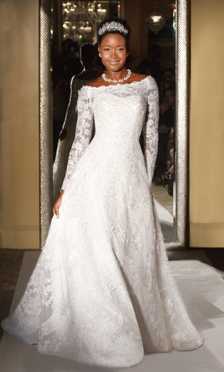 oleg-cassini-davids-bridal-wedding-dress-long-sleeve-off-the-shoulder-a-line-gown-lace