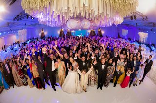 fish-eye-photo-entire-wedding-party-indian-hindu-wedding-traditional-ballroom-guests-family-fun