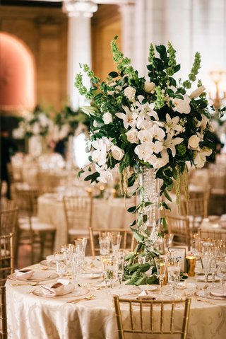 gold-chairs-white-orchid-rose-hydrangea-lily-centerpiece-arrangement-classic-wedding-decor-ideas