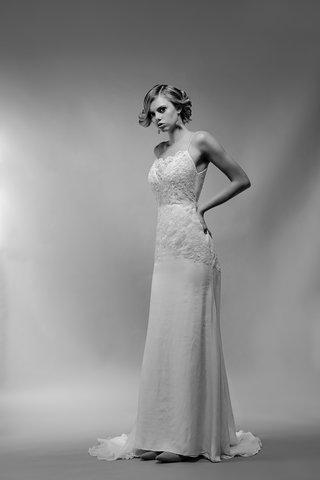 black-and-white-photo-of-simone-wedding-dress-by-ivy-aster-lace-bodice-spaghetti-straps-chiffon