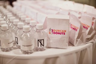 dunkin-donuts-wedding-favors-mini-bottles-of-water-with-monogram-wedding-hashtag