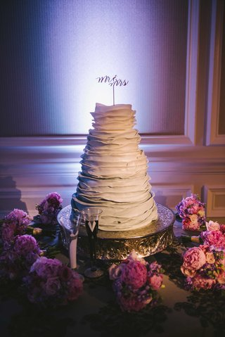 grey-ombre-wedding-cake-with-ruffles-and-laser-cut-topper