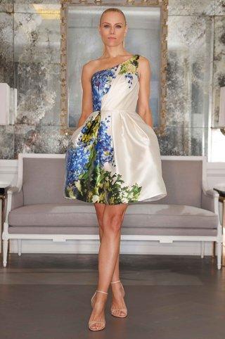 flower-print-short-one-shoulder-romona-keveza-wedding-dress