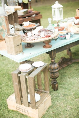 shabby-chic-rustic-meat-and-cheese-area-at-wedding