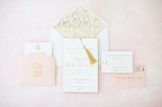 white-pink-gold-wedding-invitation-suite-pattern-envelope-liner-gold-tassel-to-match-programs