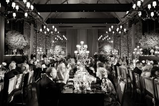 black-and-white-photo-of-wedding-reception-at-new-york-farm-venue-table-dinner-reception-party