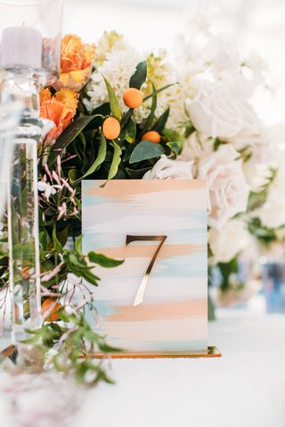 wedding table number blue orange pink salmon with kumquat centerpiece gold foil number