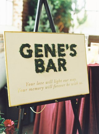 wedding-reception-sign-moss-gold-late-passed-away-father-late-loved-ones