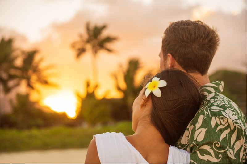 Romantic Couple Relaxing Watching Sunset