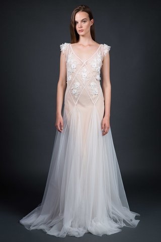 sarah-janks-fall-2016-v-neck-sheer-wedding-dress-with-flower-applique-tulle-godets-with-nude-slip