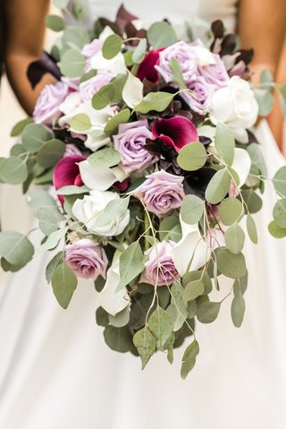 Purple and Magenta Wedding Bouquet greenery cascading white rose calla lily lavender rose