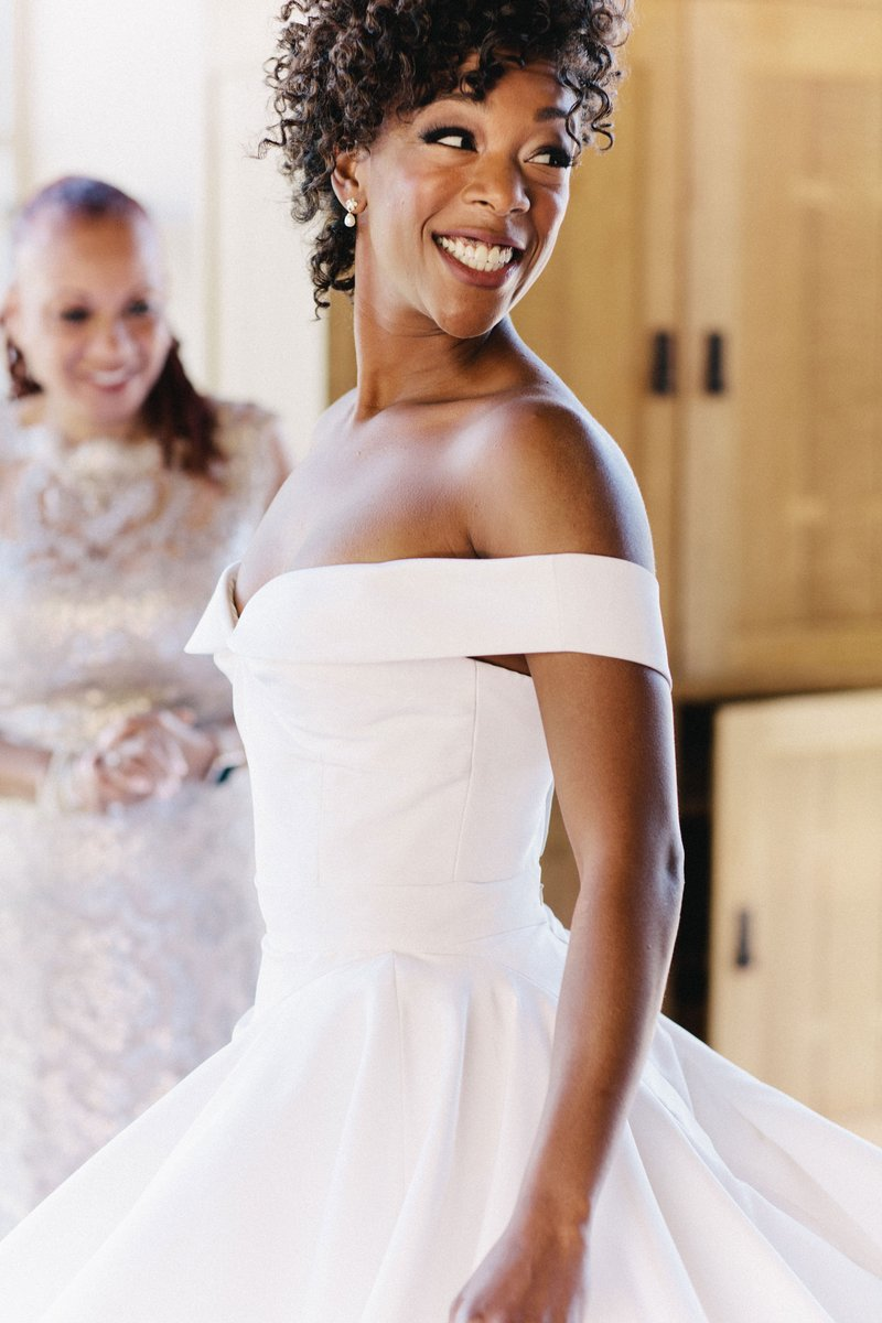 Samira Wiley in Off-Shoulder Wedding Dress