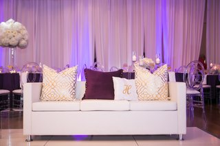 nba player brendan haywood reception lounge furniture dance floor white purple gold decor