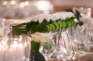wedding-reception-centerpiece-low-long-arrangement-green-mum-greenery-white-rose-flowers