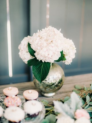 engagement-party-inspiration-round-mercury-vase-with-white-hydrangeas-and-large-green-leaves
