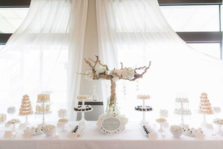 white-theme-dessert-table-at-wedding-reception-tan-branch-shabby-chic-style-all-cream-desserts