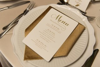 ivory-wedding-menu-with-gold-lettering-clever-wedding-hashtag-on-menu