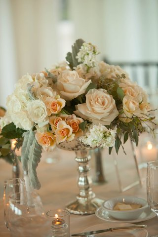 centerpieces-with-blush-roses-dusty-miller-and-eucalyptus-in-a-silver-mercury-votive