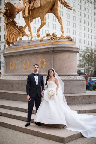 bride-and-groom-wedding-portrait-new-york-city-sherman-memorial-monument-nyc