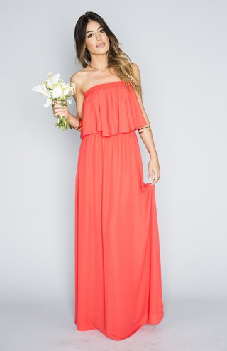 strapless-coral-bridesmaid-dress-with-flounce-bodice