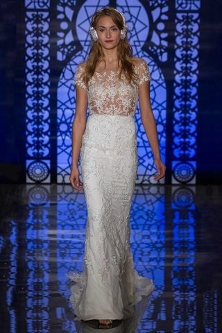 reem-acra-bridal-fall-2016-short-sleeve-illusion-bodice-with-embroidered-column-skirt
