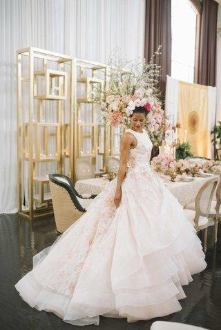 full-skirt-ball-gown-with-pink-floral-underlay-high-neckline-flower-crown