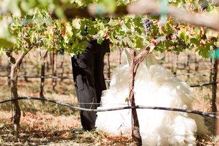bride-in-a-fit-and-flare-vera-wang-dress-ruffled-skirt-groom-in-black-by-vera-wang-in-vineyard