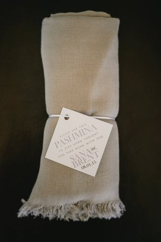 tan-blankets-for-guests-guest-favors-and-gifts-at-california-wedding