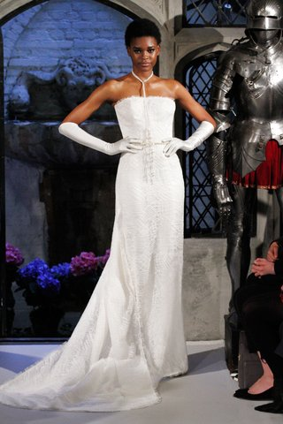oleg-cassini-spring-2018-wedding-dress-strapless-gown-floor-length-lace-finger-gloves-satin
