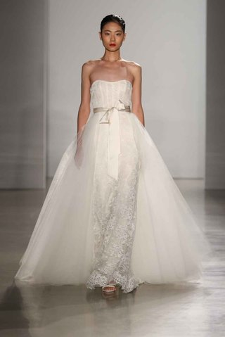 amsale-fall-2016-strapless-lace-wedding-dress-with-overskirt