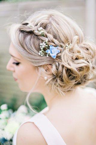 braided-bridesmaid-hair-bun-natural-flowers-blue-white-green-english-british-garden-wedding-uk