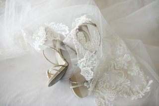 bridal accessories pearl beaded shoes sandals and lace wedding veil adam zohar