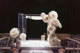 wedding ceremony modern white decor paper flower design on lucite acrylic chuppah