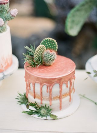 drip-cake-with-cactus-wedding-cake-trend-small-wedding-cake-copper-drip-cake