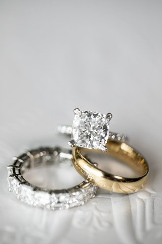 wedding rings diamond cushion cut engagement ring yellow gold men's band and eternity band
