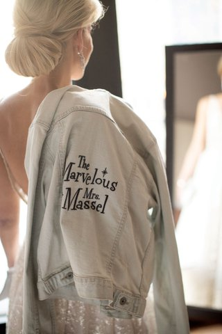 bride with pretty wedding ben with custom jean jacket the marvelous mrs maisel massel play on words