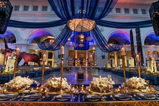 rich-cobalt-fabric-pairs-magnificently-with-golden-accents-and-blush-floral