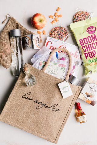 wedding welcome bag burlap tote bag los angeles with patron tequila boom chicka pop los angeles mag