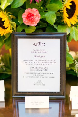 wedding-reception-table-with-sign-saying-a-donation-was-made-to-mollie-biggane-melanoma-fund