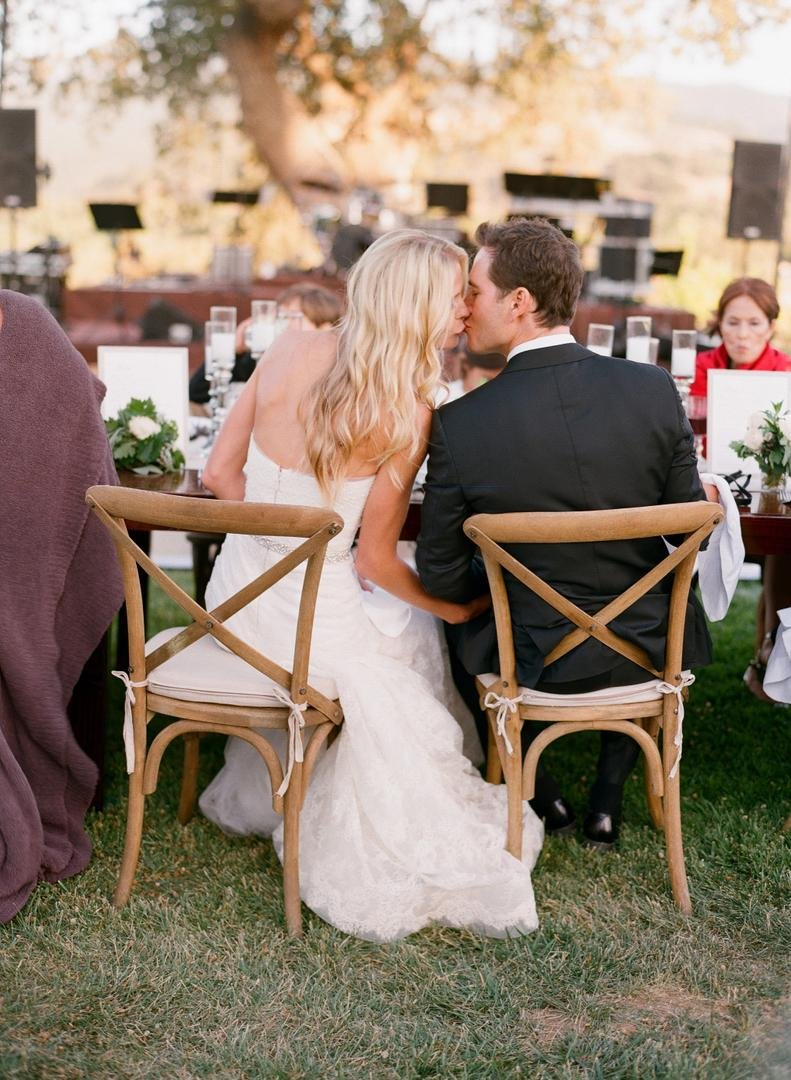 Couple Kiss at Reception