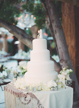 white-wedding-cake-with-pearl-dots-and-vintage-cake-topper