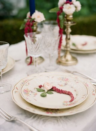 place-setting-flower-print-china-dinner-salad-plate-gold-candlestick-antique-glassware
