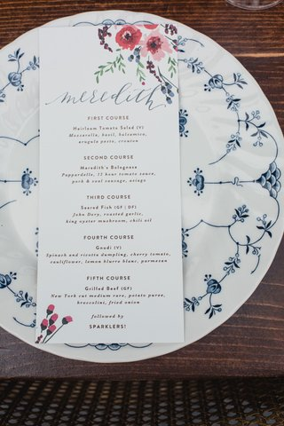 wedding-menu-card-calligraphy-name-on-top-flower-motif-five-courses-and-sparkler-exit-wedding-ideas